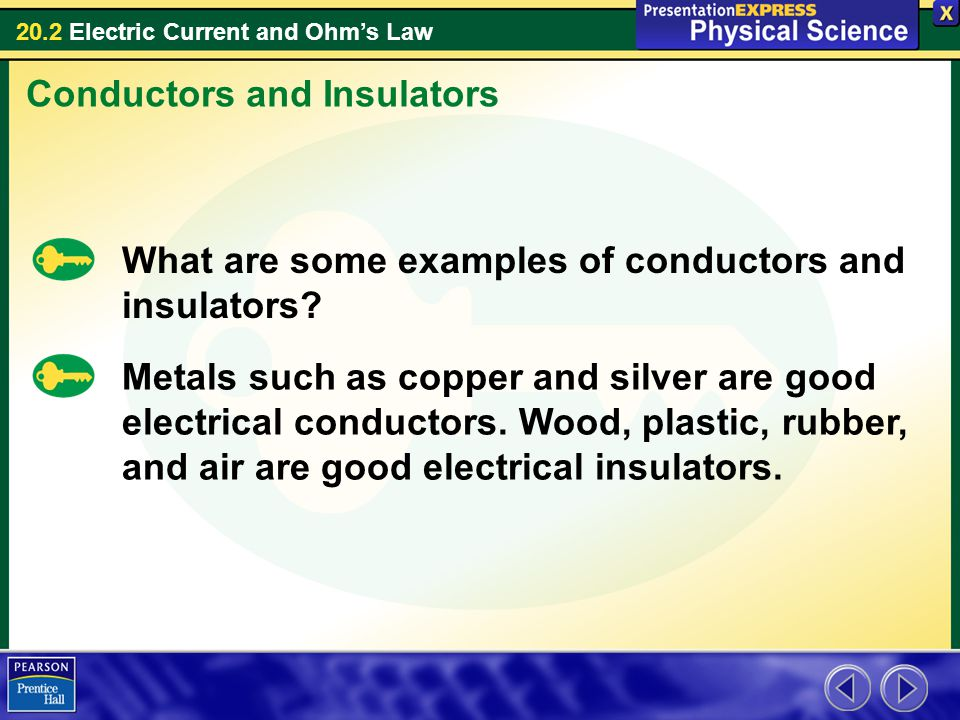 Two Examples Of Conductors : Electric current what are the two types of