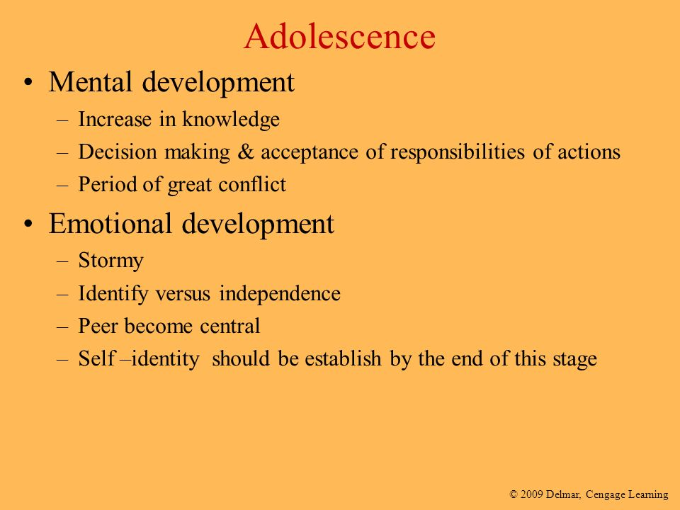 changes in adolescence stage