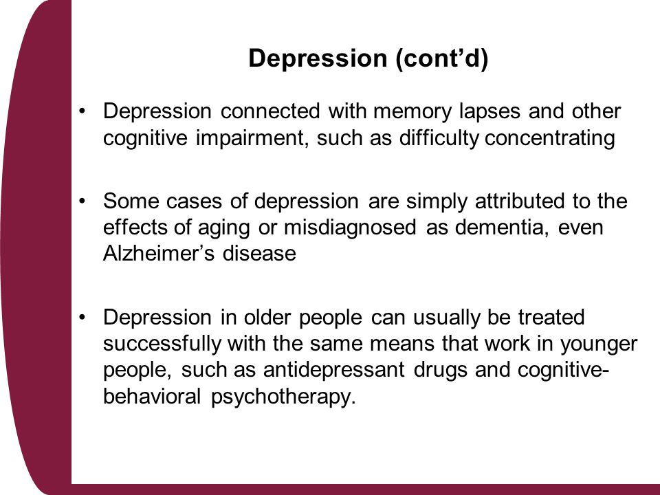 depression in late adulthood Development in late adulthood in a predictable pattern after a loved one's death, initial shock is followed by grief, followed by apathy and depression.