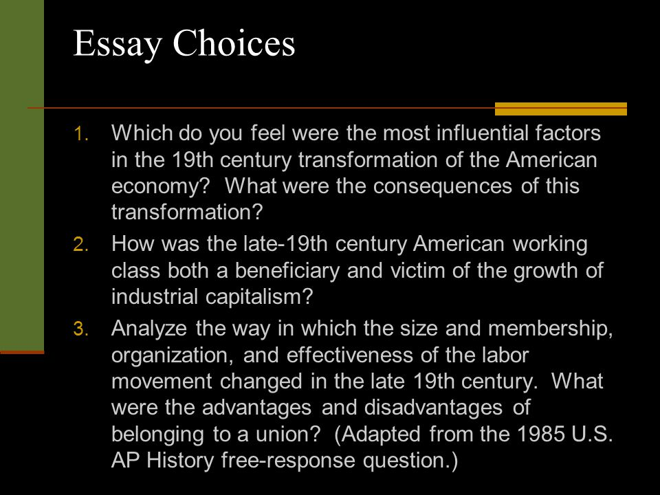 gilded age ap essay questions Ap us history on-line test essay questions for last five years : ap us history topics breakdown given by college board gilded age: politics and urbanization.