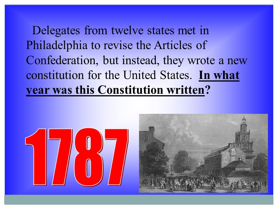 an introduction to the history of the year 1787 in the united states Constitution of the united states—a history  1787, freshly spread dirt  the introduction of the so-called virginia plan at the beginning of the convention was.