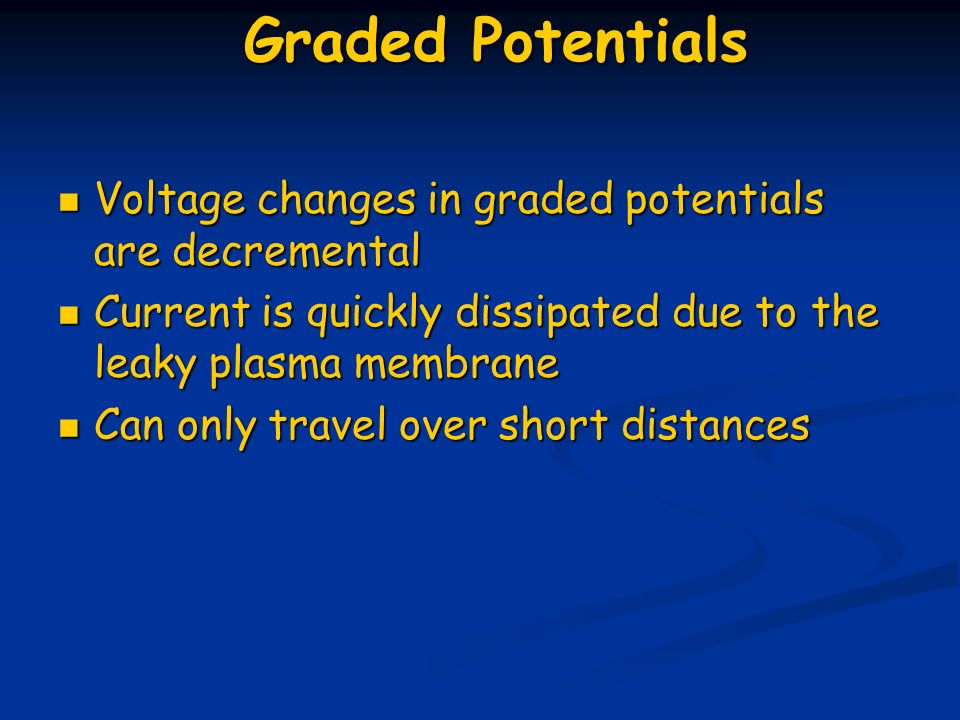 Graded Potentials Voltage changes in graded potentials are decremental