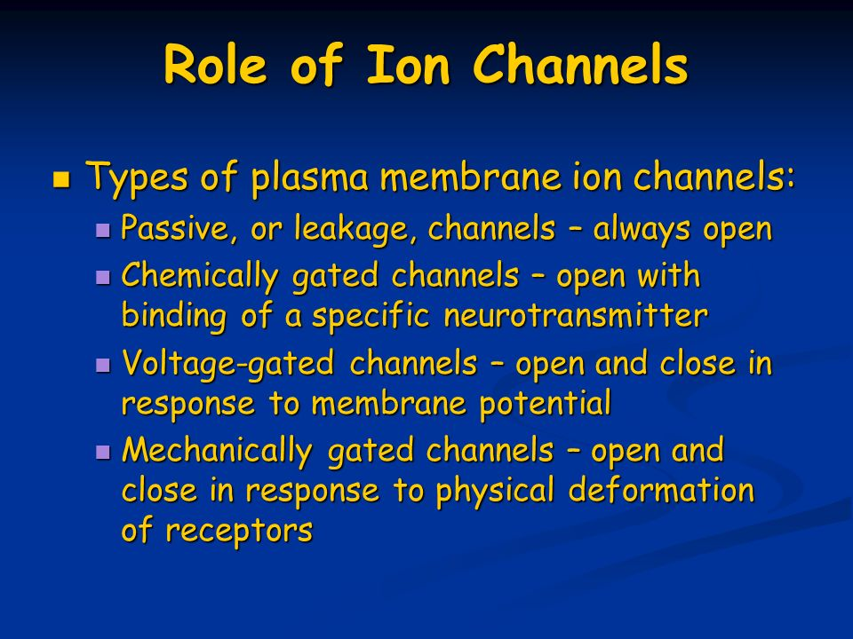 Role of Ion Channels Types of plasma membrane ion channels: