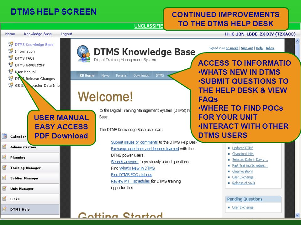 Dtms Help Screen Continued Improvements To The Desk