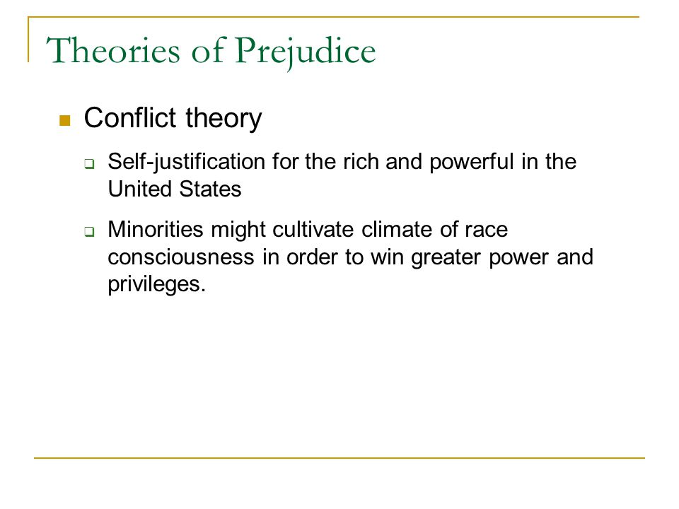"""theories of prejudice Contemporary social psychology largely follows allport's 1954 definition of prejudice """"ethnic prejudice is an antipathy based upon a faulty."""