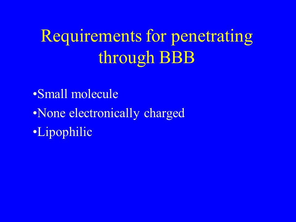 Requirements for penetrating through BBB