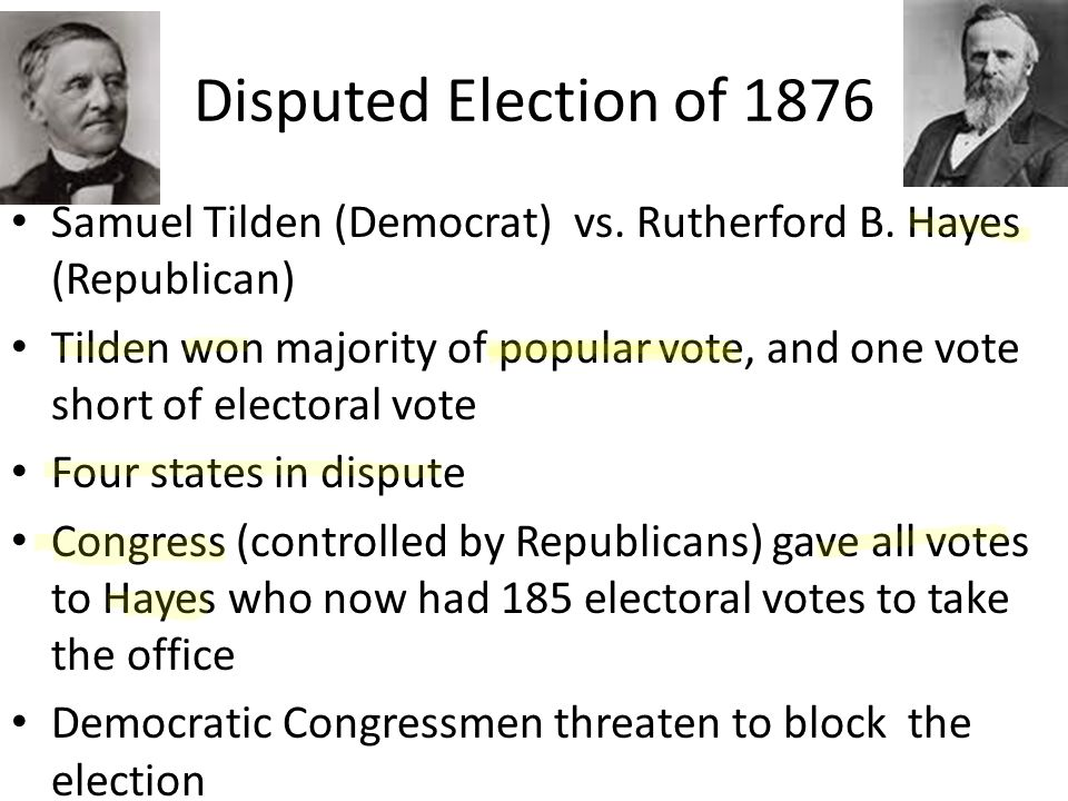 a report on the presidential election of 1876 hayes vs tilden Presidential election of 1876: a resource guide (virtual services and  hayes  vs tilden: the electoral college controversy of 1876-1877 external link.
