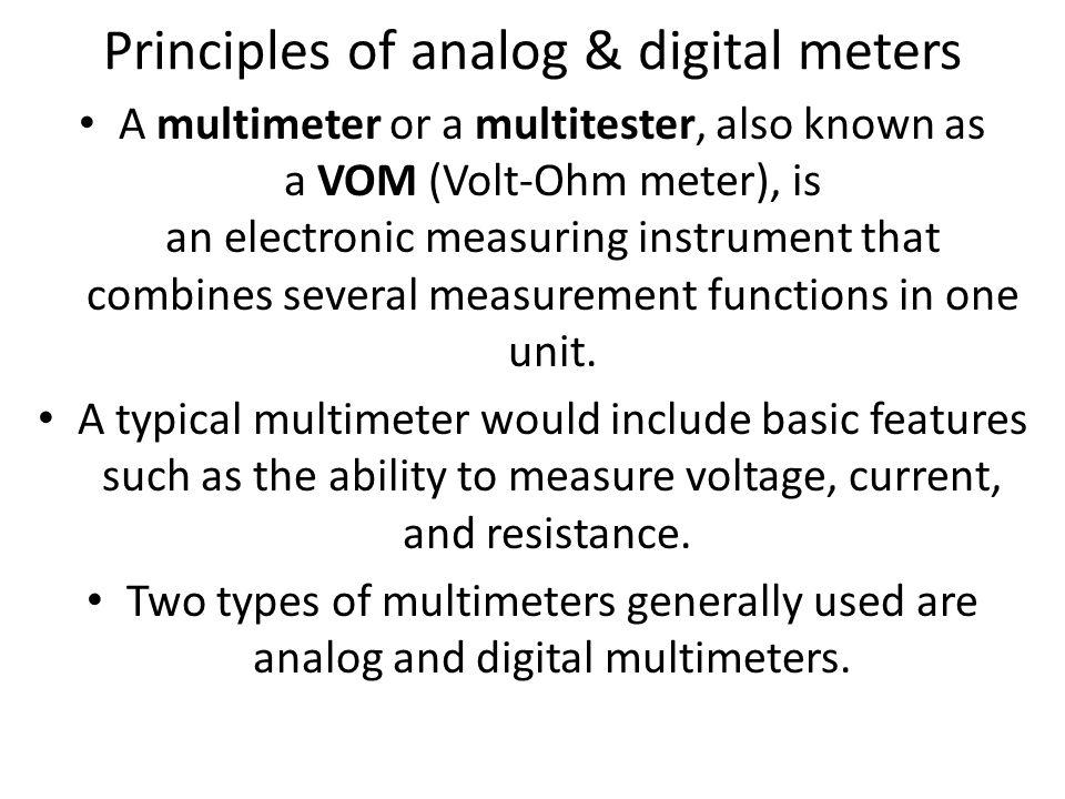 Different Types Of Multimeters : Bioinstrumentation biosensors ananda vardhan h nhce