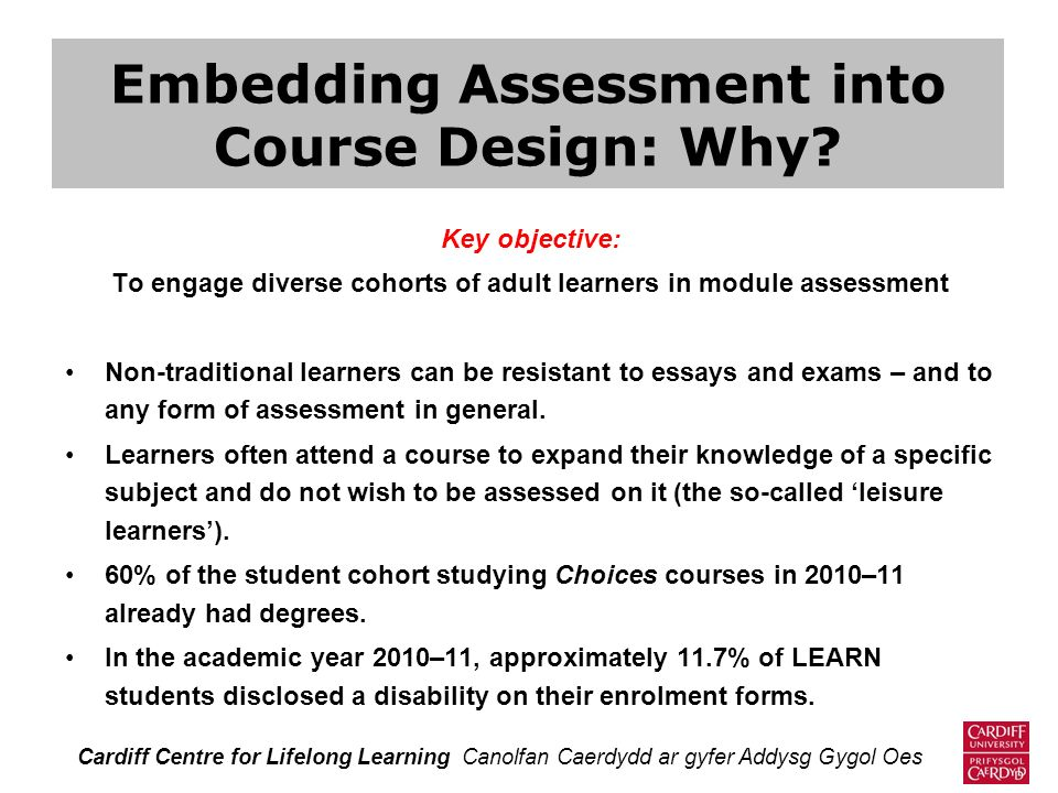 Embedding Assessment into Course Design: Why