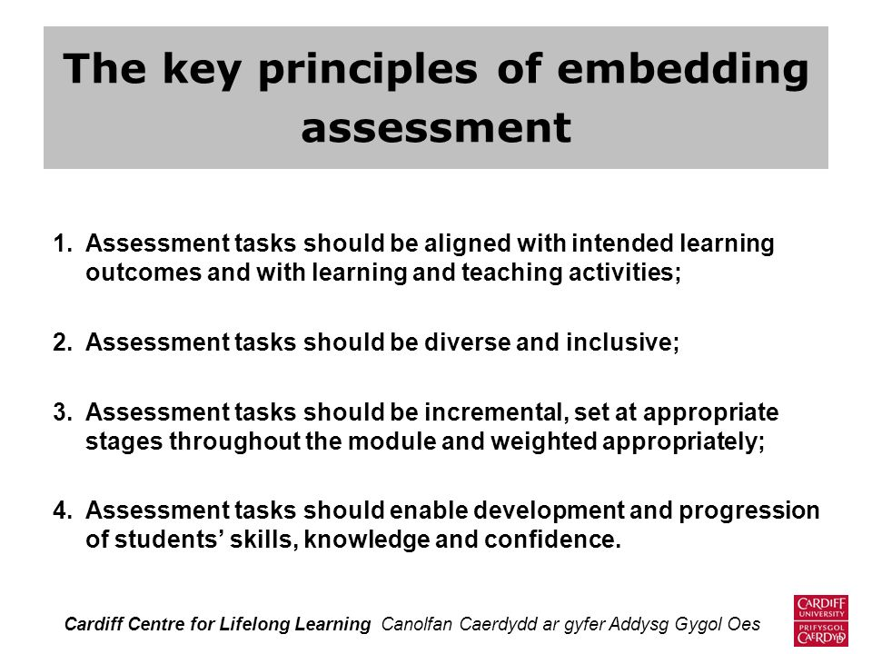 The key principles of embedding assessment