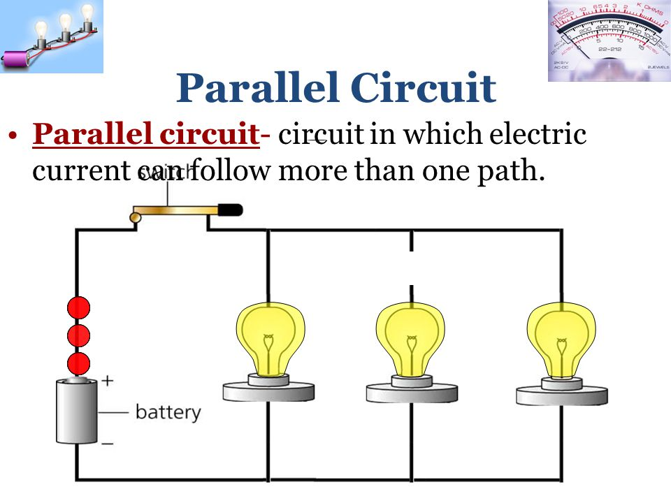 Parallel Circuit Parallel circuit- circuit in which electric current can follow more than one path.