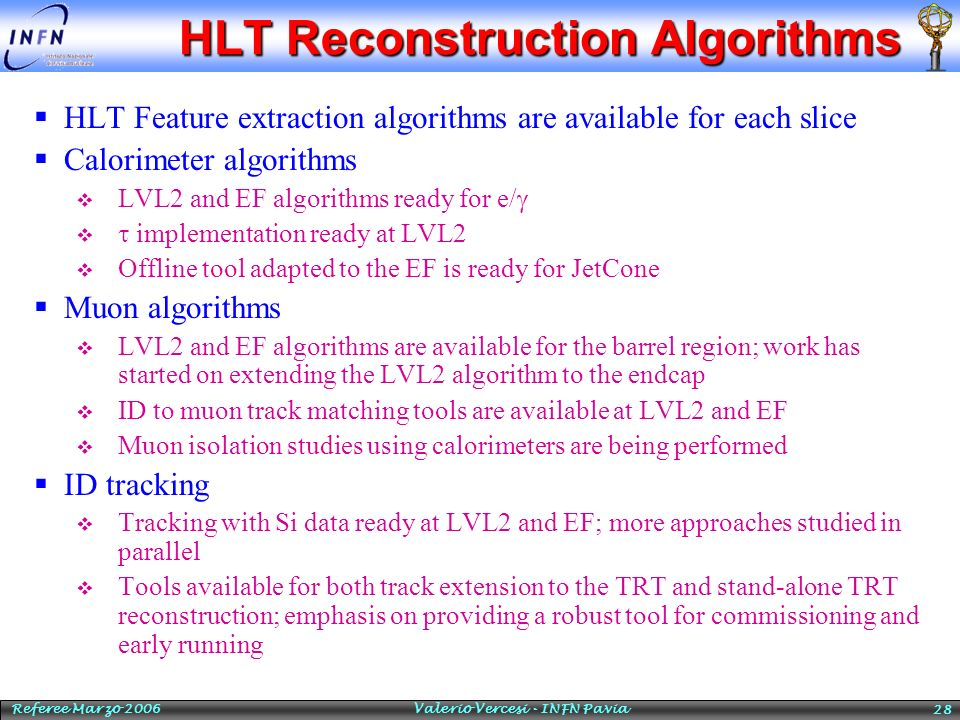 HLT Reconstruction Algorithms