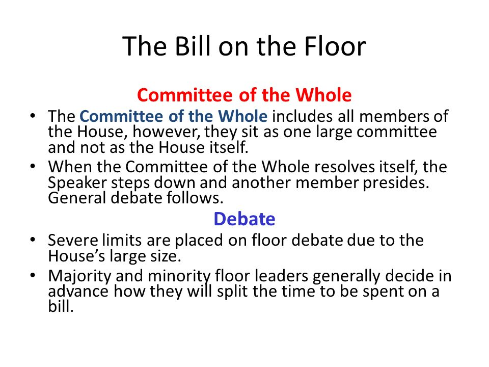 The Bill on the Floor Committee of the Whole Debate