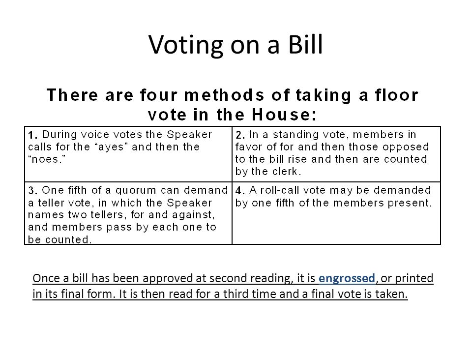 Voting on a Bill