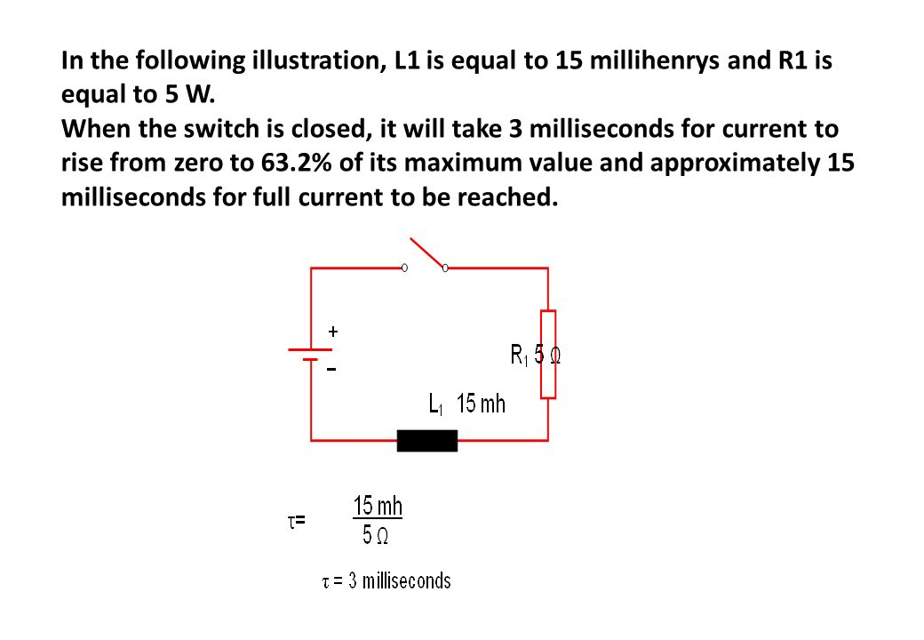 In the following illustration, L1 is equal to 15 millihenrys and R1 is equal to 5 W.