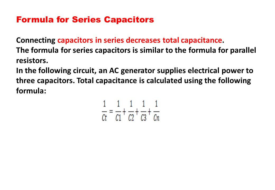 Formula for Series Capacitors