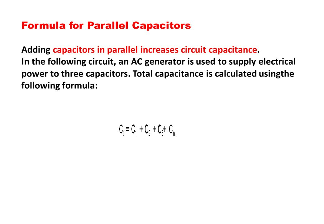 Formula for Parallel Capacitors