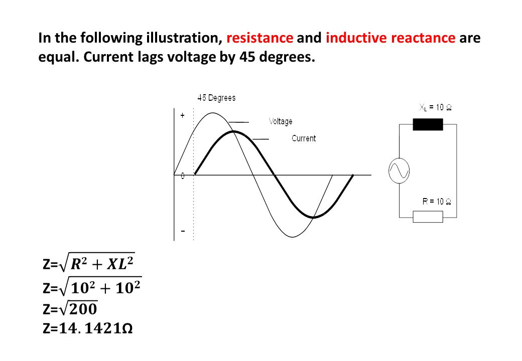In the following illustration, resistance and inductive reactance are equal. Current lags voltage by 45 degrees.