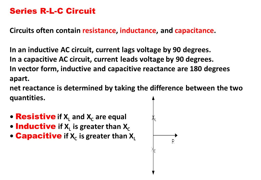 Series R-L-C Circuit Circuits often contain resistance, inductance, and capacitance. In an inductive AC circuit, current lags voltage by 90 degrees.