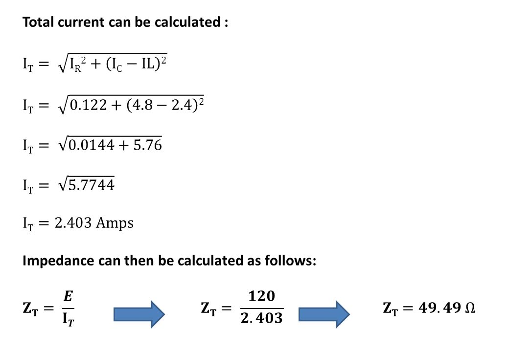 Total current can be calculated :