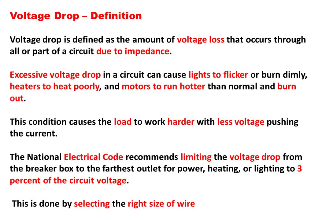 Voltage Drop – Definition