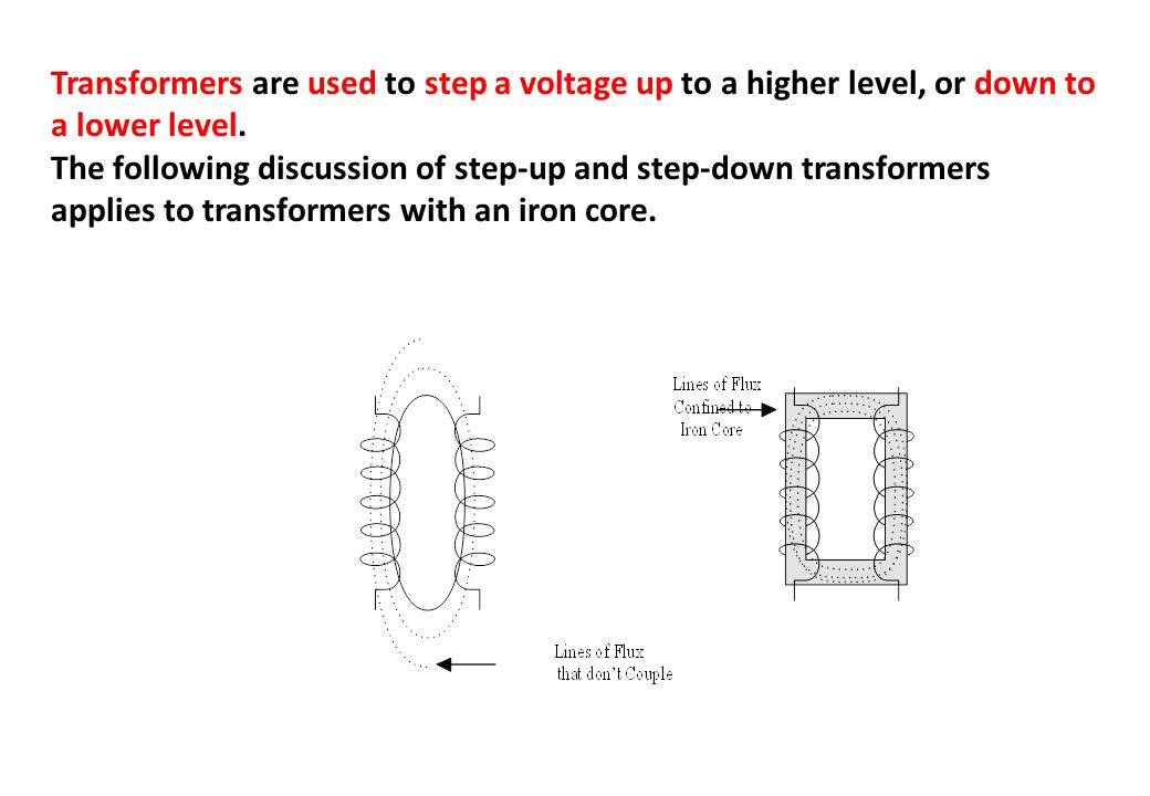 Transformers are used to step a voltage up to a higher level, or down to a lower level.