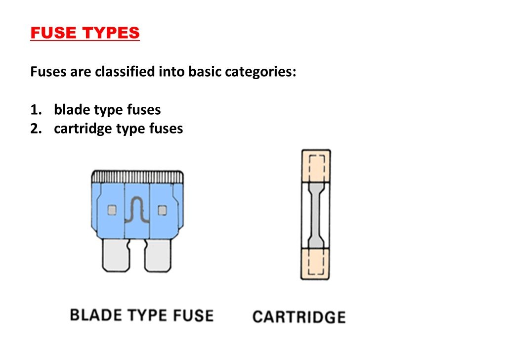 FUSE TYPES Fuses are classified into basic categories: blade type fuses cartridge type fuses