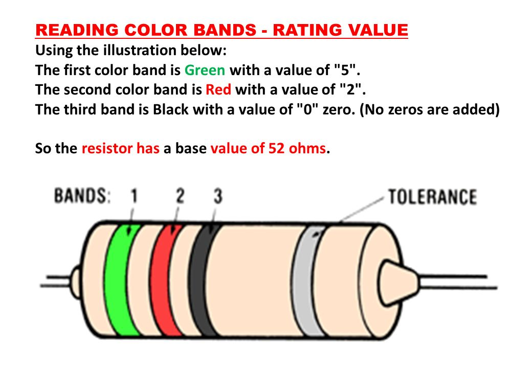 READING COLOR BANDS - RATING VALUE