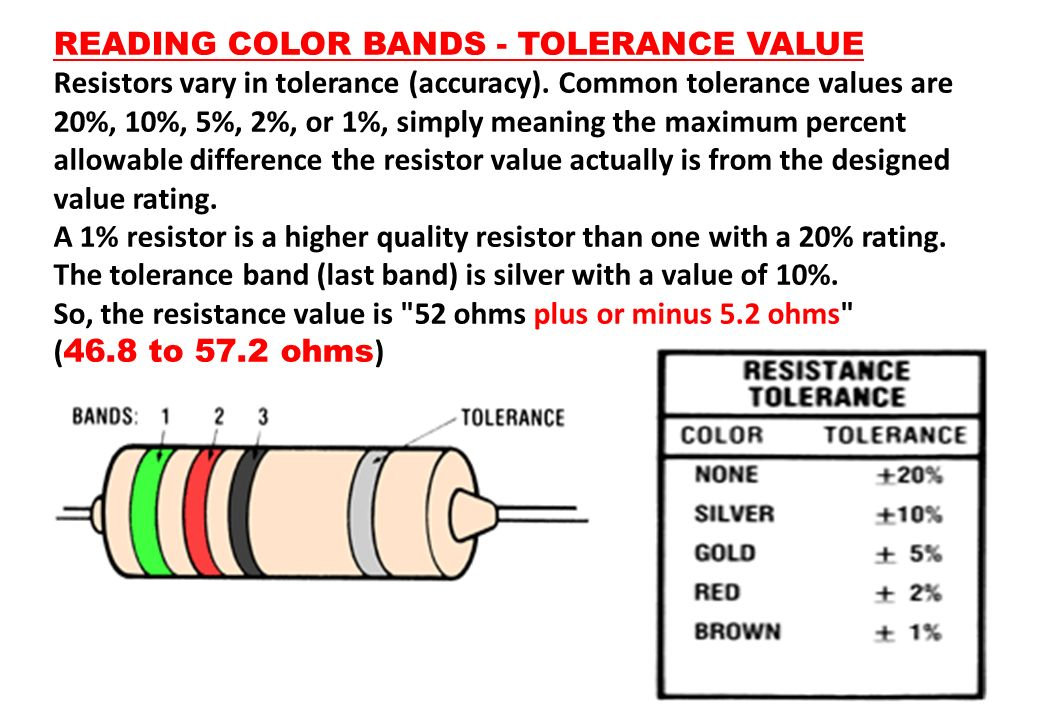 READING COLOR BANDS - TOLERANCE VALUE