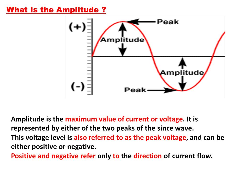 What is the Amplitude Amplitude is the maximum value of current or voltage. It is represented by either of the two peaks of the since wave.