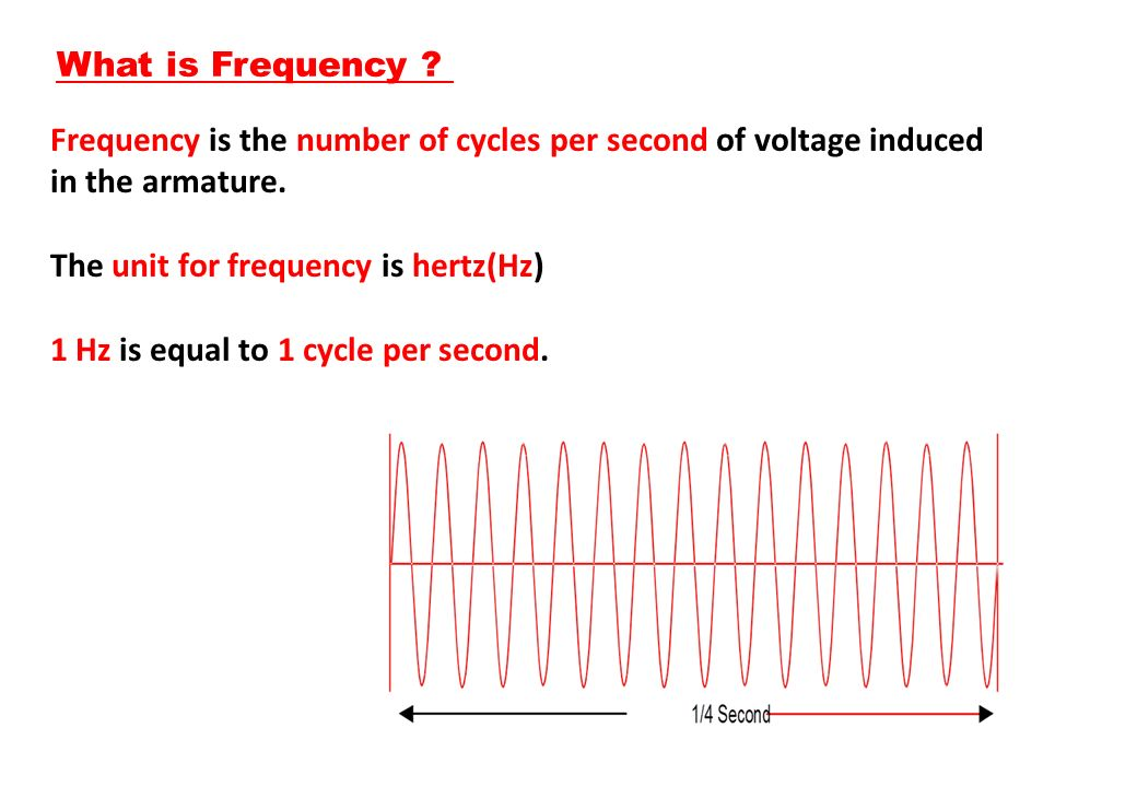 What is Frequency Frequency is the number of cycles per second of voltage induced in the armature.