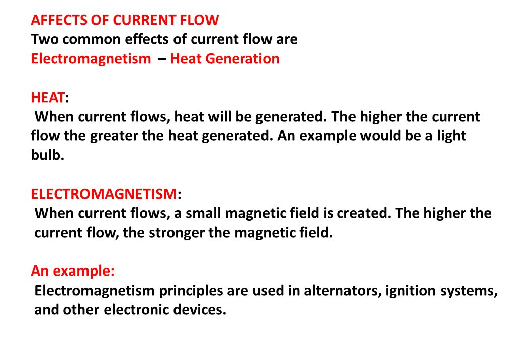AFFECTS OF CURRENT FLOW