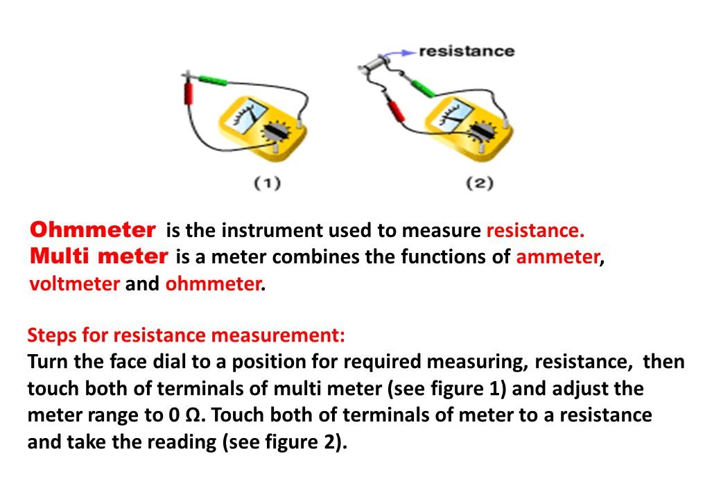 Ohmmeter is the instrument used to measure resistance.