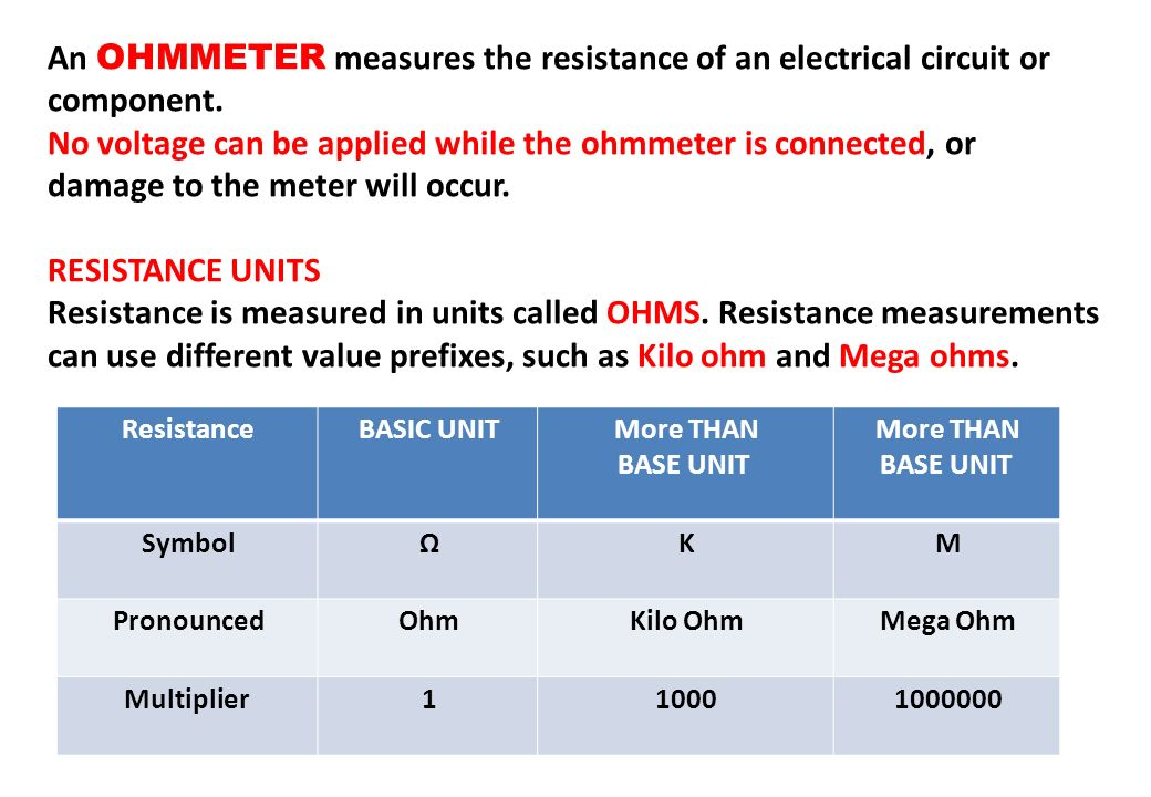 An OHMMETER measures the resistance of an electrical circuit or component.