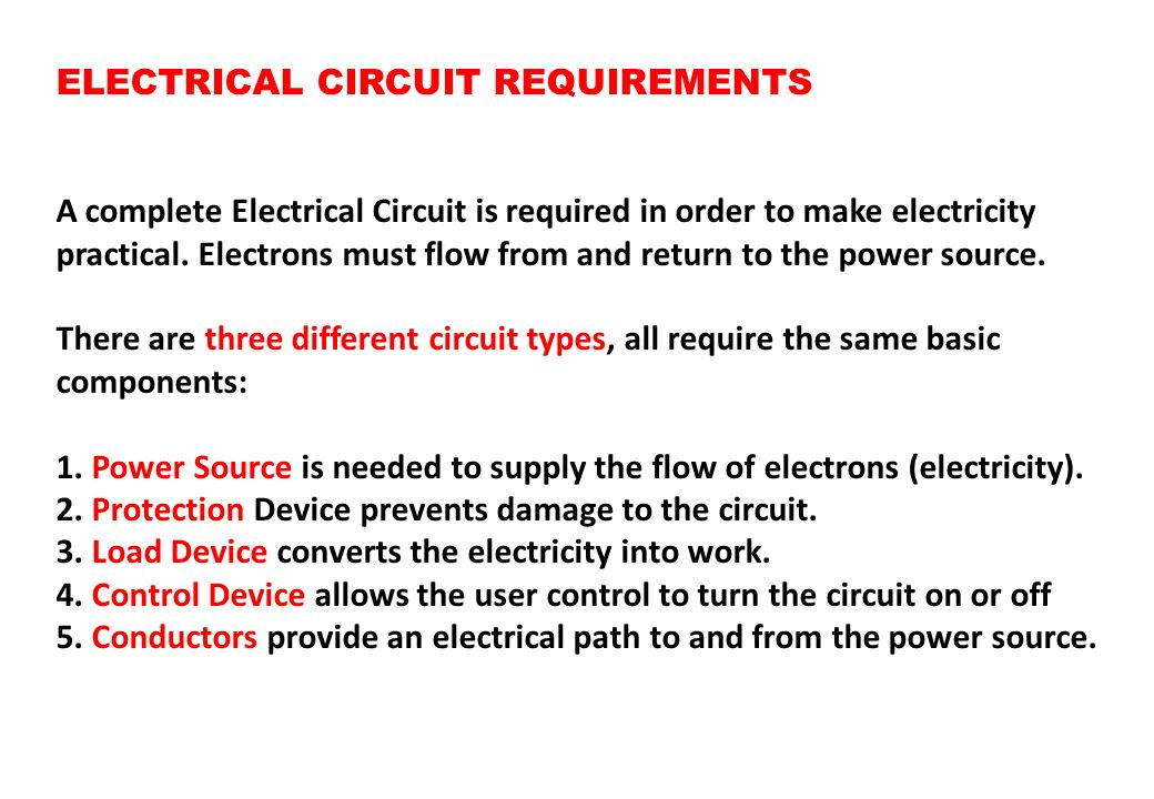 ELECTRICAL CIRCUIT REQUIREMENTS