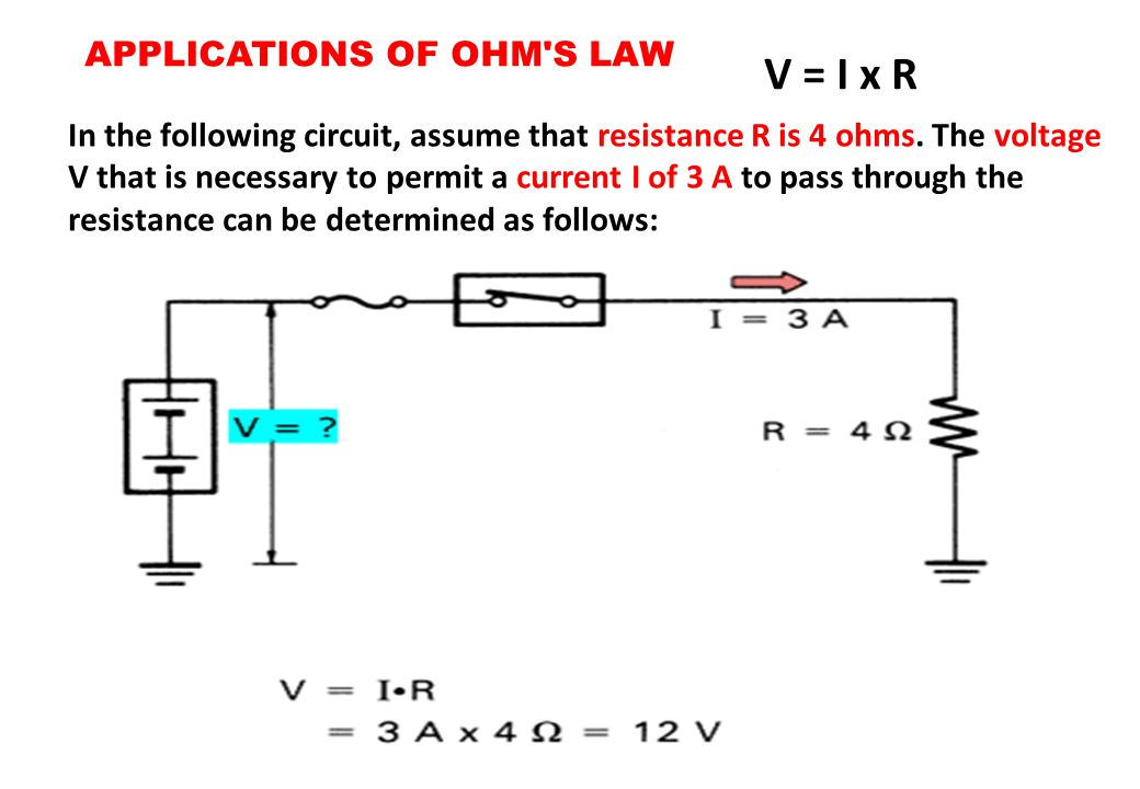 V = I x R APPLICATIONS OF OHM S LAW