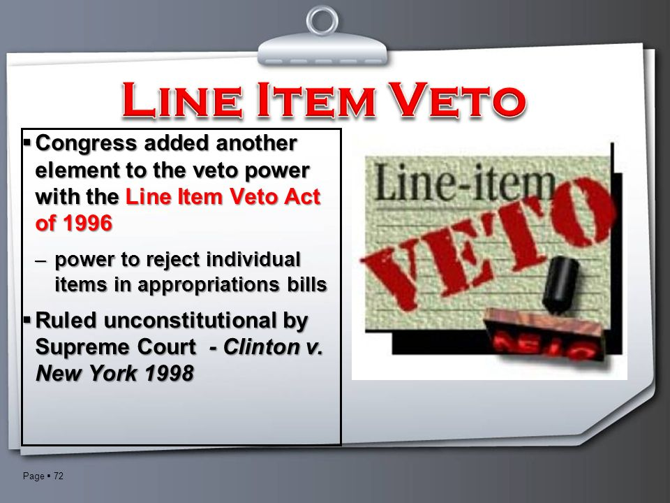 an analysis of the topic of the line item veto Start studying govt- top 20 topics learn vocabulary congress passed the line-item veto act and sound bites rather than on in-depth analysis of key issues.