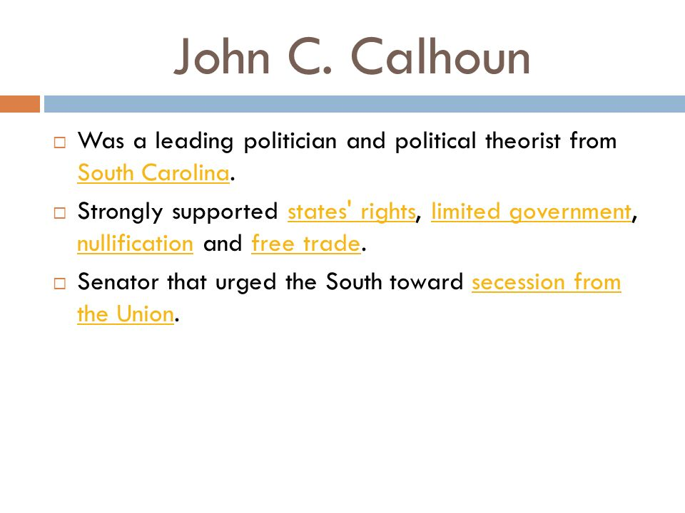 a biography of john c calhoun the american politician and political theorist Union and liberty: the political philosphy of john c calhoun [john c calhoun,  ross m  politics & government books  majority as the only truly original  american contribution to political theory  john c calhoun: a biography  paperback.