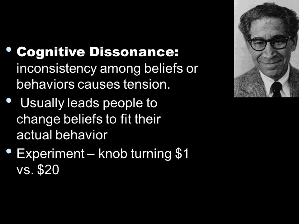 actions caused by cognitive dissonance The occurrence of cognitive dissonance is a consequence of a person performing an action that contradicts personal beliefs, ideals, and values and also occurs when confronted with new information.