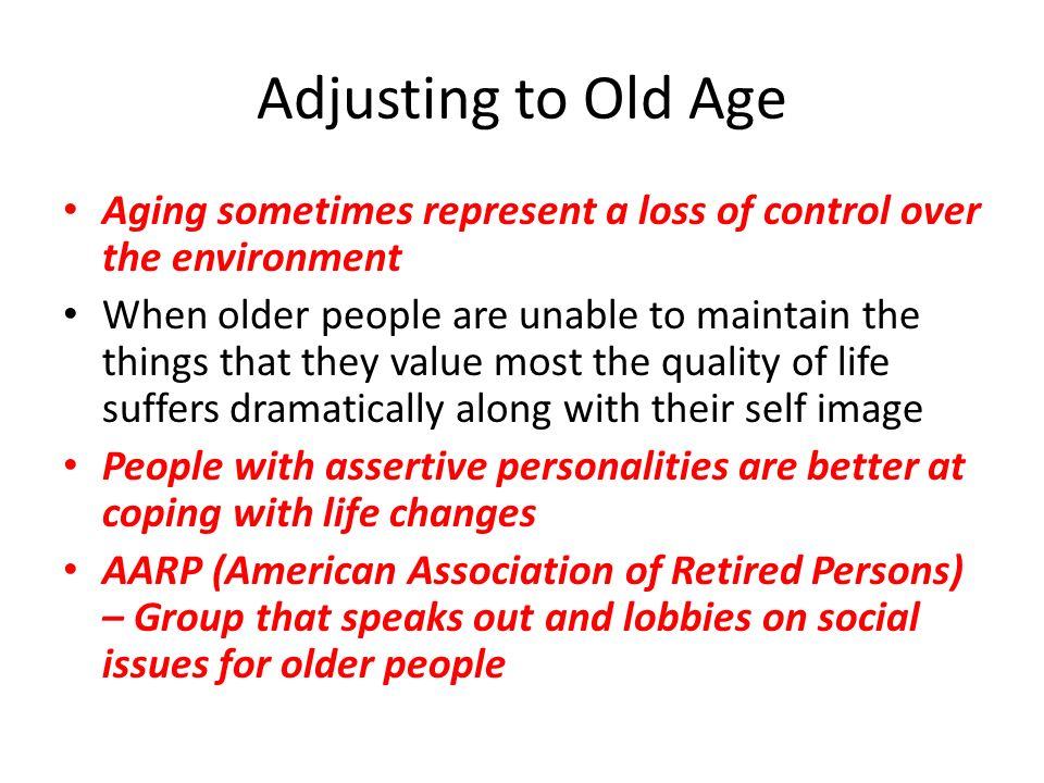 coping with old age Guidelines are offered to help the elderly face the challenge of aging successfully key words: coping resource, elderly, oldest old, stressors the end of the century marks a remarkable change in the population structure of the united states this is particu- larly evident among the group of people traditionally labeled old.