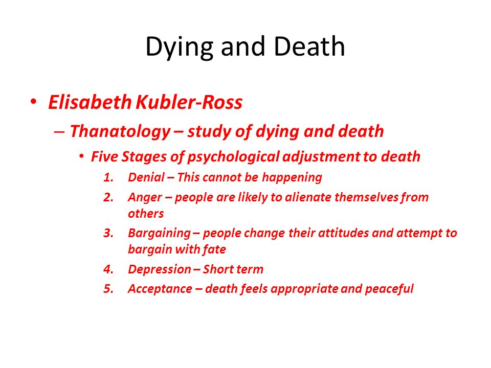 the five stages of death and The five stages of grief trope as used in the tenacious d series parodies this in the episode death of a dream the five stages of losing a rock star.