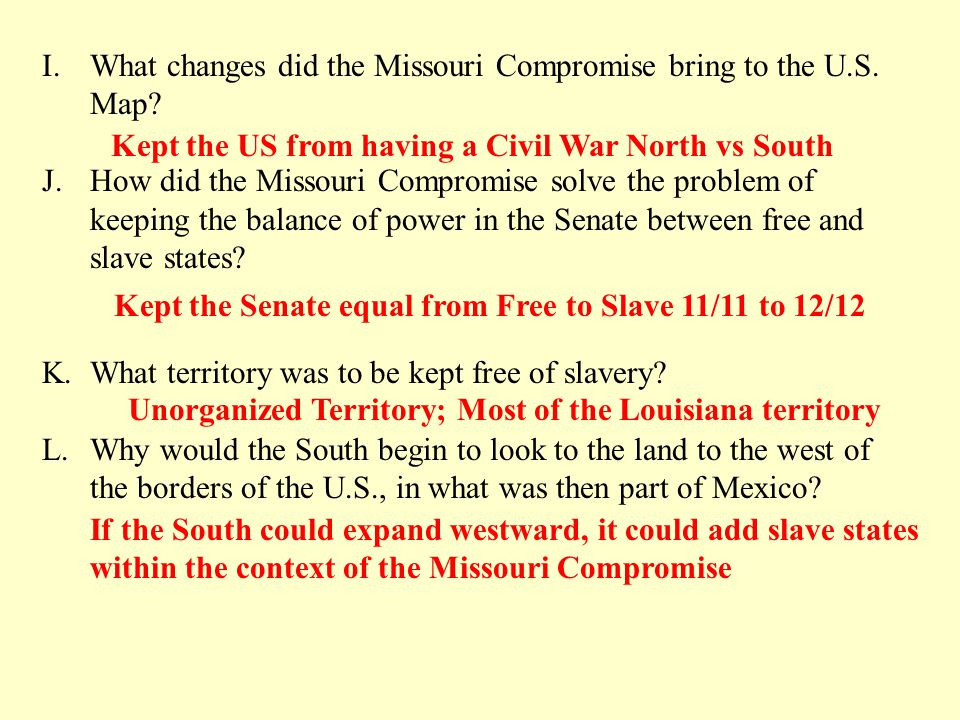 What Changes Did The Missouri Compromise Bring To The U S Map