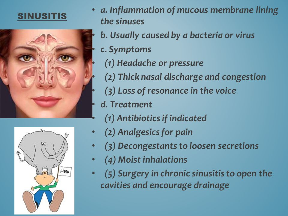 a. Inflammation of mucous membrane lining the sinuses