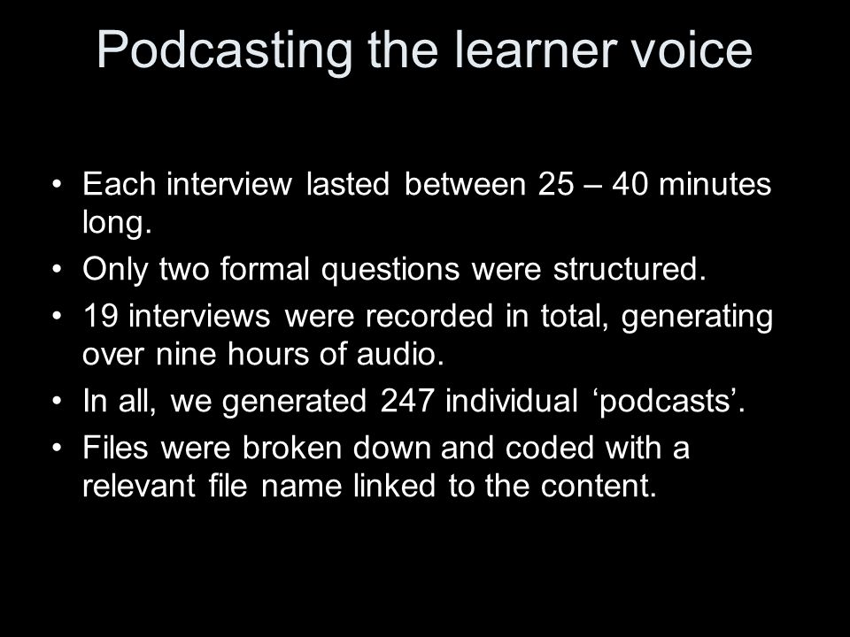 Podcasting the learner voice