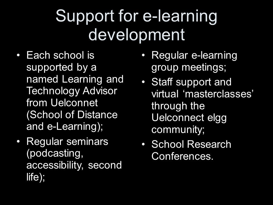 Support for e-learning development