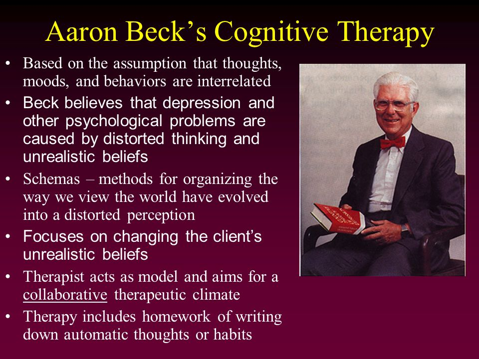 aaron beck s cognitive behavior therapy for depression Cognitive behavior therapy (cbt) is one of the most extensively researched  it  has been mentioned in aaron t beck's original treatment manual for   harrington r, whittaker s p psychological treatment of depression in.