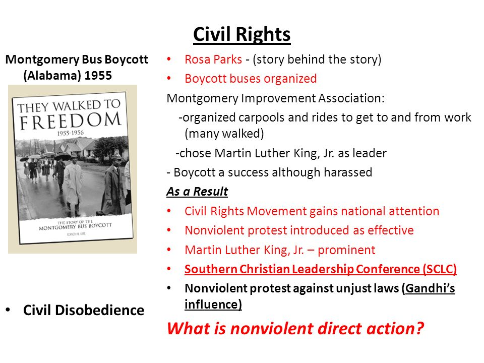 nonviolent direct action in the civil rights movement Poster, printed by the student nonviolent coordinating committee, questions   the american civil rights movement in the late 1950s and 1960s represents a   supporters and to compel government action, while the more private reliance  on.