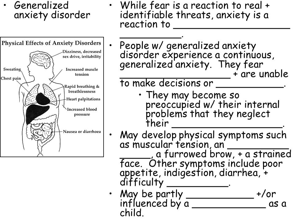 reaction paper on generalized anxiety disorder Acute stress disorder is characterized by the development of severe anxiety, dissociation, and other symptoms that occurs within one month after exposure to an extreme traumatic stressor (eg.