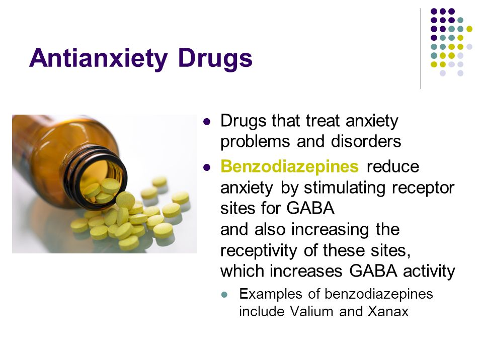 Antianxiety Drugs Drugs that treat anxiety problems and disorders