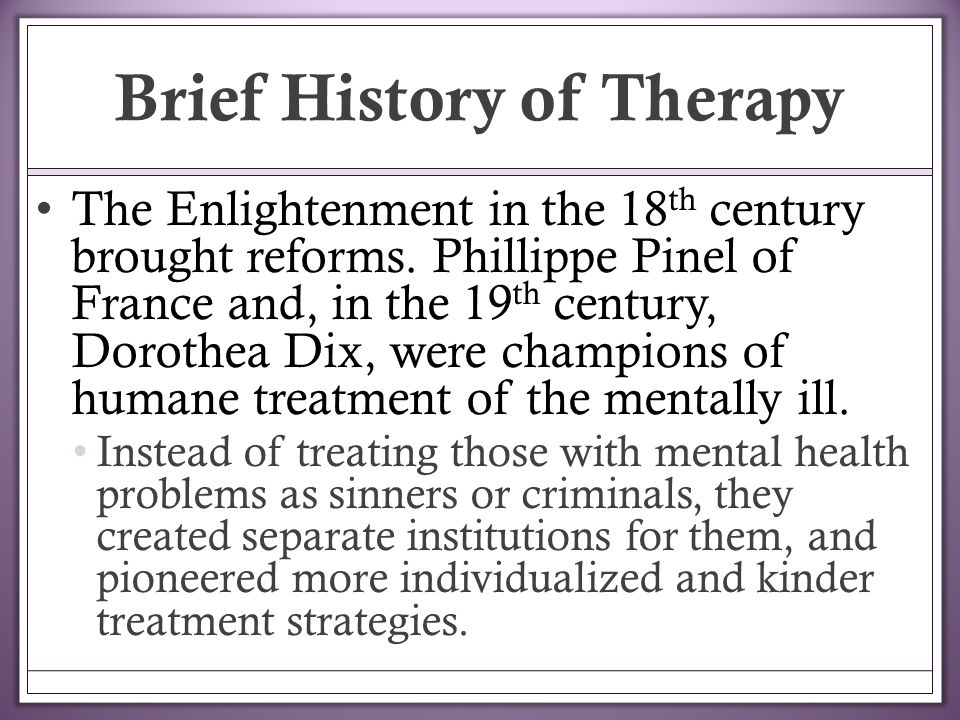 mental health in the 18th 19th century The 10 worst mental health treatments in history  in the 18th century, some believed that mental illness was a moral issue that could be treated through humane care and instilling moral .